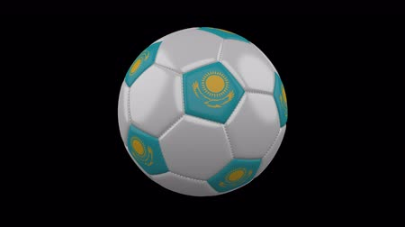 astana : Soccer ball with the flag of Kazakhstan colors rotates on transparent background, 3d rendering, prores footage with alpha channel, loop
