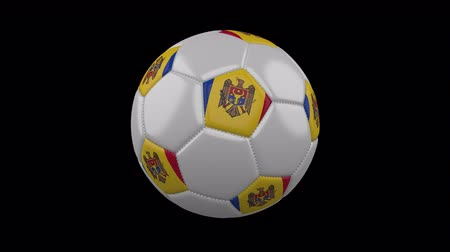 rotates : Soccer ball with the flag of Moldova colors rotates on transparent background, prores footage with alpha channel, 3d rendering, loop Stock Footage