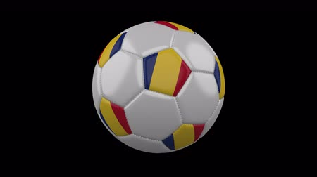루마니아어 : Soccer ball with the flag of Romania colors rotates on transparent background, prores footage with alpha channel, 3d rendering, loop