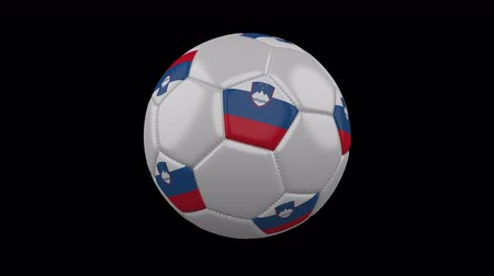 ljubljana : Soccer ball with the flag of Slovenia colors rotates on transparent background, prores footage with alpha channel, 3d rendering, loop