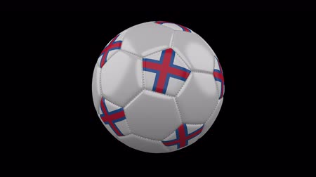 torshavn : Soccer ball with the flag of Faroe Islands colors rotates on transparent background, prores footage with alpha channel, 3d rendering, loop Stock Footage