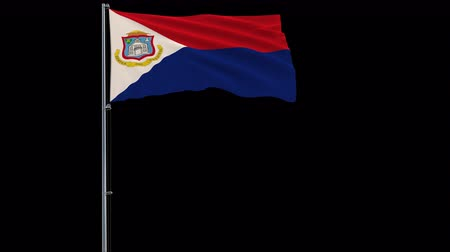 proportions : Isolate big flag of Sint Maarten on a flagpole fluttering in the wind on a transparent background, 3d rendering, 4k prores 4444 footage with alpha transparency Stock Footage