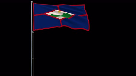 eustatius : Isolate big flag of Sint Eustatius on a flagpole fluttering in the wind on a transparent background, 3d rendering, 4k prores 4444 footage with alpha transparency
