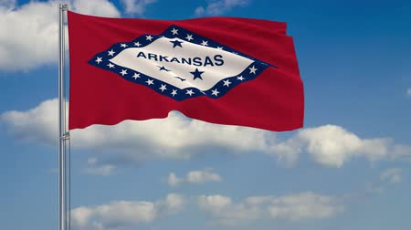 стандарт : Flag of Arkansas - US state fluttering in the wind against a cloudy sky
