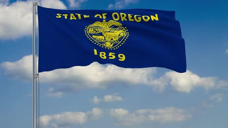 birlik : Flag of Oregon - US state fluttering in the wind against a cloudy sky