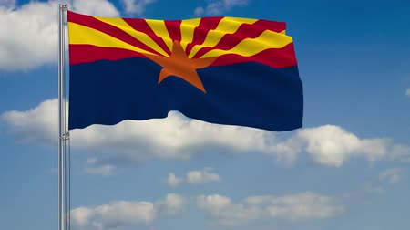 anka kuşu : Flag of Arizona - US state fluttering in the wind against a cloudy sky