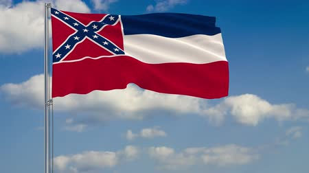 стандарт : Flag of Mississippi - US state fluttering in the wind against a cloudy sky