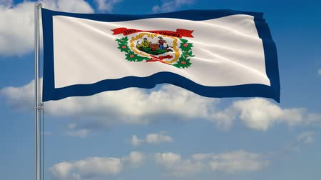 Виргиния : Flag of West Virginia - US state fluttering in the wind against a cloudy sky