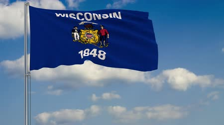 standart : Flag of Wisconsin - US state fluttering in the wind against a cloudy sky Stok Video