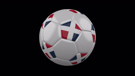 beşgen : Soccer ball with flag Dominican colors rotates on transparent background, 3d rendering, 4k prores footage with alpha channel, loop