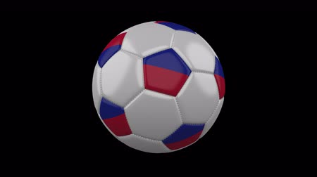 príncipe : Soccer ball with flag Haiti colors rotates on transparent background, 3d rendering, 4k prores footage with alpha channel, loop