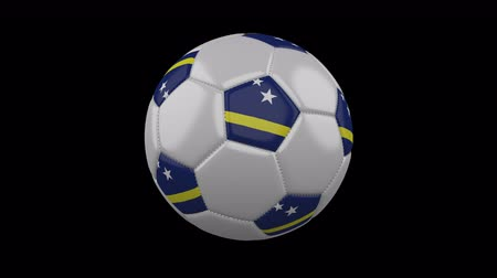 curacao : Soccer ball with flag Curacao colors rotates on transparent background, 3d rendering, 4k prores footage with alpha channel, loop
