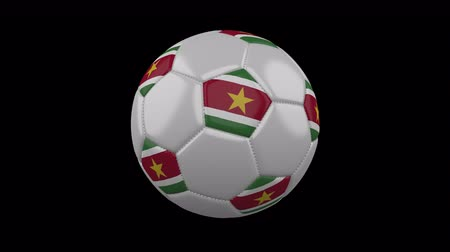 beşgen : Soccer ball with flag Suriname colors rotates on transparent background, 3d rendering, 4k prores footage with alpha channel, loop