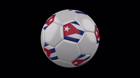 cuciture : Soccer ball with flag Cuba colors rotates on transparent background, 3d rendering, 4k prores footage with alpha channel, loop