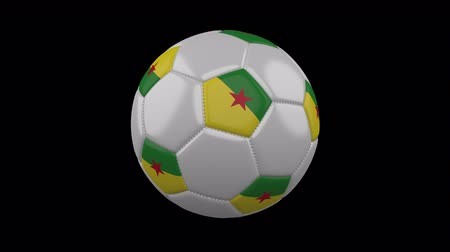 world cup : Soccer ball with flag French Guiana colors rotates on transparent background, 3d rendering, 4k prores footage with alpha channel, loop