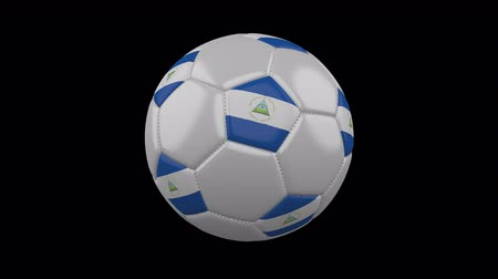 nicaraguan : Soccer ball with flag Nicaragua colors rotates on transparent background, 3d rendering, 4k prores footage with alpha channel, loop