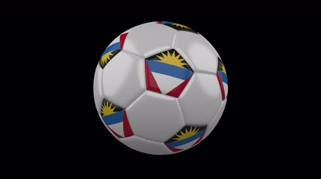 único : Soccer ball with flag Antigua and Barbuda colors rotates on transparent background, 3d rendering, 4k prores footage with alpha channel, loop