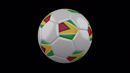 world cup : Soccer ball with flag Guyana colors rotates on transparent background, 3d rendering, 4k prores footage with alpha channel, loop Stock Footage