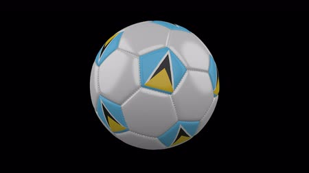 cuciture : Soccer ball with flag Saint Lucia colors rotates on transparent background, 3d rendering, 4k prores footage with alpha channel, loop