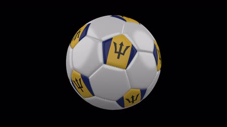 voetballen : Soccer ball with flag Barbados colors rotates on transparent background, 3d rendering, 4k prores footage with alpha channel, loop