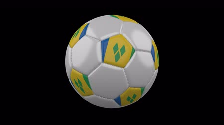 vijfhoek : Soccer ball with flag Saint Vincent and the Grenadines colors rotates on transparent background, 3d rendering, 4k prores footage with alpha channel, loop