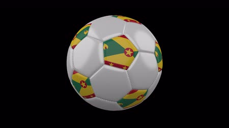 küçük hindistan cevizi : Soccer ball with flag Grenada colors rotates on transparent background, 3d rendering, 4k prores footage with alpha channel, loop