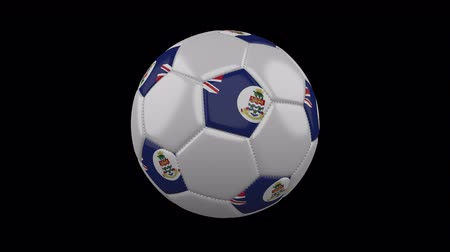 cuciture : Soccer ball with flag Cayman Islands colors rotates on transparent background, 3d rendering, 4k prores footage with alpha channel, loop