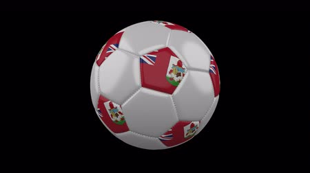 cuciture : Soccer ball with flag Bermuda colors rotates on transparent background, 3d rendering, 4k prores footage with alpha channel, loop