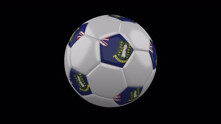 beşgen : Soccer ball with flag British Virgin Islands colors rotates on transparent background, 3d rendering, 4k prores footage with alpha channel, loop