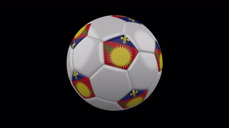 cuciture : Soccer ball with variant flag Guadeloupe colors rotates on transparent background, 3d rendering, 4k prores footage with alpha channel, loop Filmati Stock