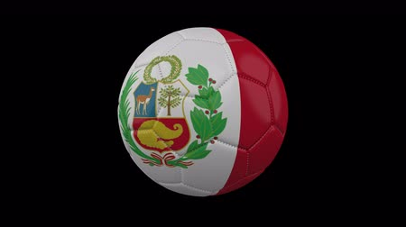 lima : Soccer ball with the flag of Peru colors rotates on transparent background, 3d rendering, prores footage with alpha channel, loop