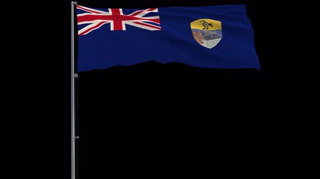 felemelkedés : Isolate big flag of Saint Helena on a flagpole fluttering in the wind on a transparent background, 3d rendering, 4k prores 4444 footage with alpha transparency