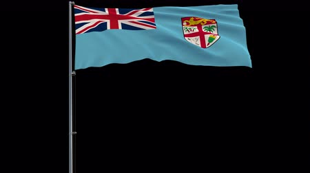 oficiální : Isolate big flag of Republic of Fiji on a flagpole fluttering in the wind on a transparent background, 3d rendering, 4k prores 4444 footage with alpha transparency
