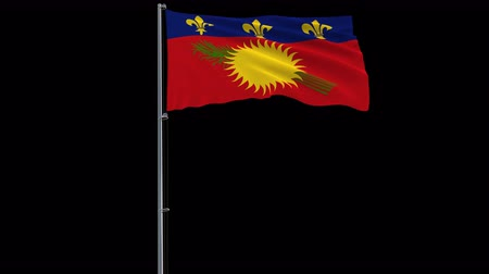 território : Isolate red big flag of Guadeloupe on a flagpole fluttering in the wind on a transparent background, 3d rendering, 4k prores 4444 footage with alpha transparency