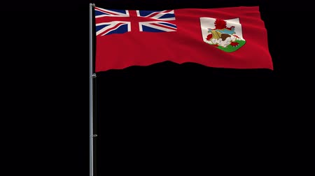 bermudas : Isolate big flag of Bermuda on a flagpole fluttering in the wind on a transparent background, 3d rendering, 4k prores 4444 footage with alpha transparency