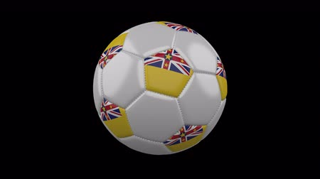 beşgen : Soccer ball with flag Niue colors rotates on transparent background, 3d rendering, 4k prores footage with alpha channel, loop