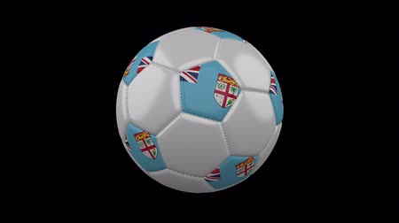 vijfhoek : Soccer ball with flag Republic of Fiji colors rotates on transparent background, 3d rendering, 4k prores footage with alpha channel, loop Stockvideo