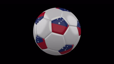 bola de futebol : Soccer ball with flag Samoa colors rotates on transparent background, 3d rendering, 4k prores footage with alpha channel, loop Vídeos