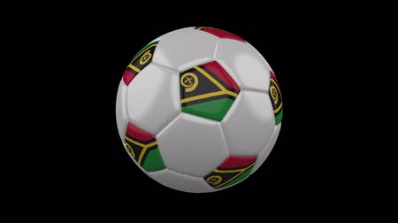 клык : Soccer ball with flag Vanuatu colors rotates on transparent background, 3d rendering, 4k prores footage with alpha channel, loop Стоковые видеозаписи