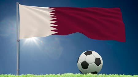 monarchy : Flag of Qatar fluttering and a football rolls on the lawn, 3d rendering