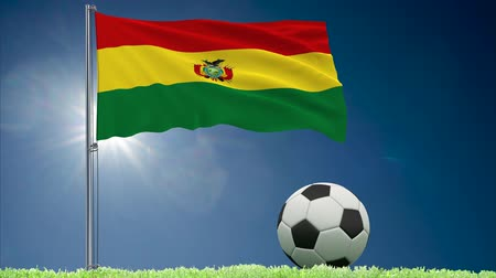 bulutsuz : Flag of Bolivia fluttering and a football rolls on the lawn, 3d rendering Stok Video