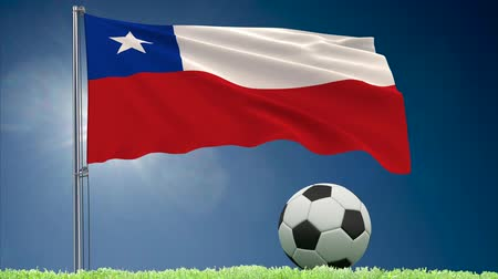 bulutsuz : Flag of Chile fluttering and a football rolls on the lawn, 3d rendering