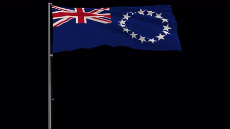 oficial : Isolate big flag of Republic of Cook Islands on a flagpole fluttering in the wind on a transparent background, 3d rendering, 4k prores 4444 footage with alpha transparency