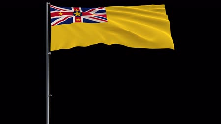 savage : Isolate big flag of Republic of Niue on a flagpole fluttering in the wind on a transparent background, 3d rendering, 4k prores 4444 footage with alpha transparency