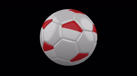 pentágono : Soccer ball with flag of Indonesia colors on white background, 3d rendering, loop, 4k prores footage with alpha channel