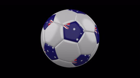 beşgen : Soccer ball with flag Australia colors rotates on transparent background, 3d rendering, loop, 4k prores footage with alpha channel