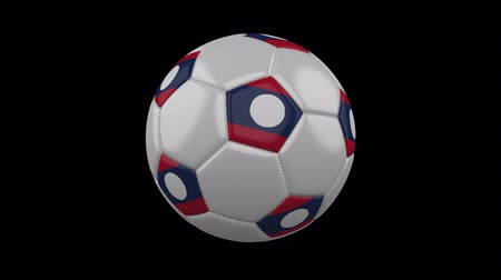 beşgen : Soccer ball with flag Democratic Republic Laos colors rotates on transparent background, 3d rendering, loop, 4k prores footage with alpha channel Stok Video