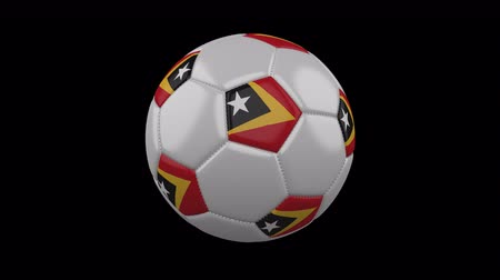 democrático : Soccer ball with flag Timor-Leste colors rotates on transparent background, 3d rendering, loop, 4k prores footage with alpha channel Stock Footage