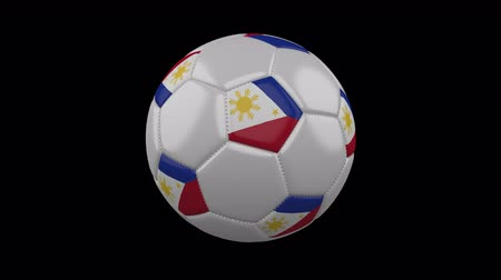 takımadalar : Soccer ball with flag Philippines colors rotates on transparent background, 3d rendering, loop, 4k prores footage with alpha channel Stok Video