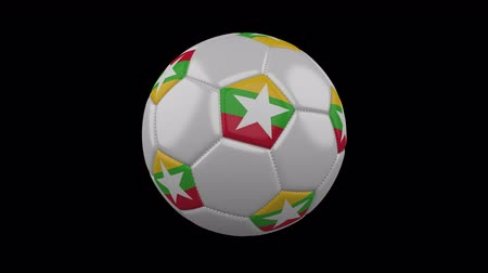 pentágono : Soccer ball with flag Myanmar colors rotates on transparent background, 3d rendering, loop, 4k prores footage with alpha channel Vídeos